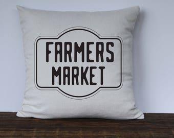 Farmers Market Farmhouse Pillow Cover, Custom couch pillow, Decorative Pillow, Vintage Market Pillow Cover, Multiple Colors