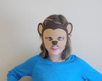Monkey Tail and Mask// Fleece tail// Felt animal mask