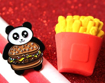Quarter Panda pin, enamel pin, burger enamel pin, panda enamel pin, burger pin, panda pin, food pins, funny pin, panda brooch, animal pin