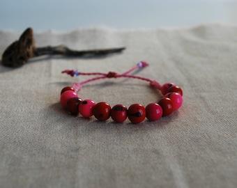 Pink Friendship Bracelet / Boho Bracelet / Corded Macramé Bracelet / Beaded Jewelry / Surf Bracelet / festival Bracelet