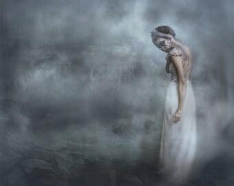 A Siren of Silence-wall art, photographic art, Siren, white gown, white veil, long gown, fantasy, Gothic, fog, mist, ocean, mythology