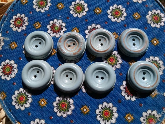 8 Antique Painted Wood Buttons 1930's French Baby Blue Buttons #sophieladydeparis