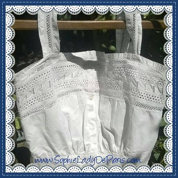 Victorian White Eyelet Lace Corset Top French Cotton Camisole Small Clothing Costume #sophieladydeparis