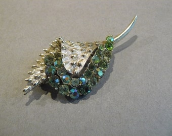 Lovely Vintage Coro  Peridot and AB Rhinestone Brooch / Pin