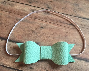 Mint Faux Leather Baby Headband