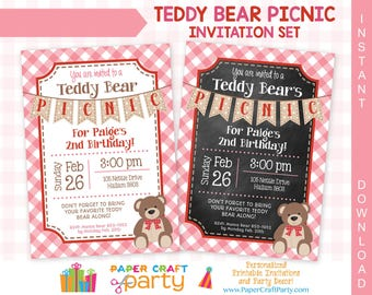 Teddy Bear Picnic Invitation - Pink - Printable Teddy Bear Invite - Instantly Download and Edit at Home with Adobe Reader TB12