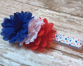 Red, white and blue baby headband, 4th of july headband, Memorial Day headband, baby headband, red white royal blue bow