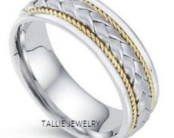 Two Tone Wedding Rings,14K Gold Mens Wedding Bands,Matching Wedding Rings,Handmade Braided Wedding Rings,Womens Wedding Rings