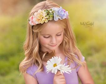 Esperanza Floral Crown {Pastel} • Rainbow sash • Rainbow Floral Crown  • Hope Floral Crown • Bohemian Crown • Rainbow Baby | Ready To Ship