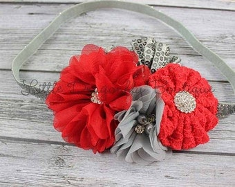 RTS Red silver grey sparkle headband {cluster headband, fancy headband, baby headband}