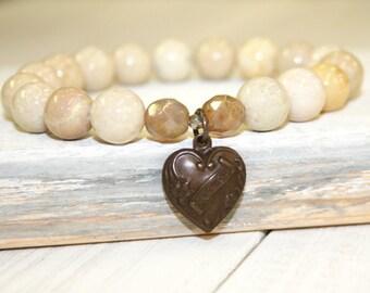 Beige Stretch Bracelet, Riverstone Bracelet, Heart Charm, Cream stone bracelet, Neutral stacking bracelet, Gemstone Bracelet