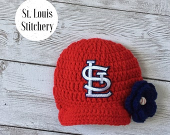 Baby Girl Red St. Louis Cardinals Inspired Hat / Newborn Photo Prop / Sitter Session / Baseball Hat / Sizes Newborn - 9 Months MADE TO ORDER