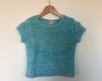 Plush Fuzzy Furry Cutest Cyan Aqua Blue Crop Sweater Seapunk Dream