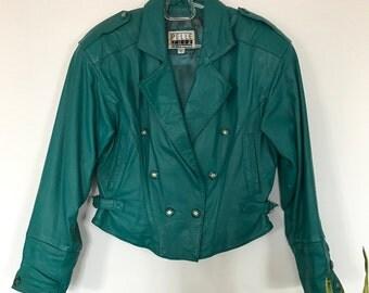 Turquoise Dopest Green Leather Biker Jacket