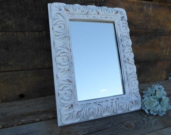 Hand Painted Wood Ornate Rectangle Wall Mirror ~ Distressed White~  Shabby Chic ~ French Country Cottage Farmhouse Home Decor Fixer Upper