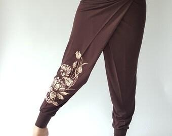 YG0014 Lotus Printed on 100% Rayon Wide Leg, So Cool Fabric, Yoga Pants  made from 100 Rayon (R011)