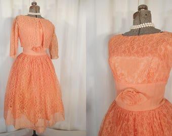 Vintage 1950s Dress / 50s Party Dress / Vintage Prom Dress / New Look Rockabilly Orange Sherbet Lace Frock Small