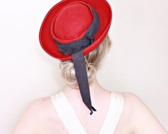 1930s Vintage Hat / Vintage red hat / Vintage 30s hat / Nautical / Ribbons / Breton / Felt wool