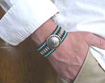Antique Silver Concho, Howlite Turquoise, Antique Silver Tubes, Topaz Czech Beads,3 Rows Black Leather Beaded Cuff Men's Bracelet
