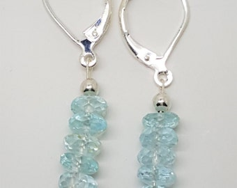 10.22ctw Sky Blue Topaz Sterling Silver Bead Leverback Earrings