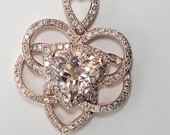 2.29ctw Trillion Morganite & Diamond 14kt Rose Gold Pendant