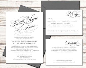 Printable Wedding Invitation Set - Wedding Invitation - Invitation - RSVP + Details Card - DIY Wedding - Faith Hope Love Invite Suite