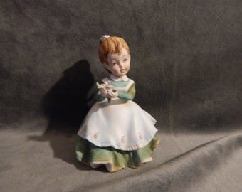 Vintage Lefton China Figurine Girl with Pink Roses