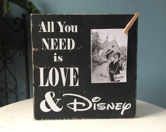 Disney Picture Frame Sign   All you Need is Love    Wedding Bridal Shower Gift