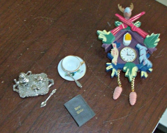 Vintage Dollhouse Cuckoo Clock, Tea Set, Bible and Tea Cup and Saucer with Spoon