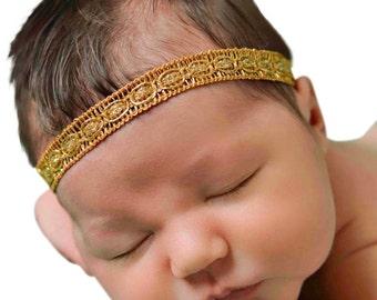 Baby Girl Headband, Newborn Headband, Gold Headband, Baby Headband, Baptism Headband, Gold Headbands, Gold Headband Baby, Headband Toddler
