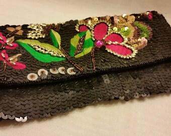 Vintage Bijoux Terner Envelope Evening Bag. Beaded and Sequence Envelope Formal Bag. Bead and Embroidery Formal Black Clutch. Formal BagSALE