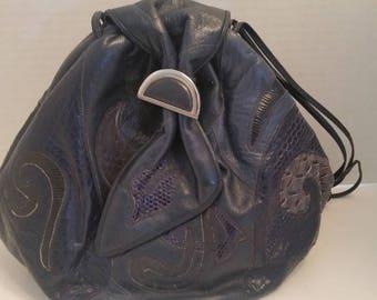 Vintage Sharif Navy Blue Leather Cross Body Bag.  Leather and Snake Abstract design Handbag. Designer Vintage Sharif Purse. Crossbody Bag