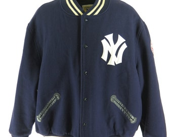 Vintage 80s New York Yankees Jacket Mens 64 Mitchell & Ness MLB Baseball Wool [H32E_4-9]