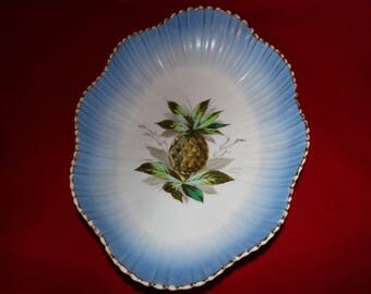Vintage Pineapple Porcelain Bowl, Serving Tray, Robin's Egg Blue Fruit Bowl