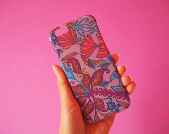 Taupe Tropical Print iPhone6 Case, Tropical Pattern Phone Cover, Girly Patterned Phone Case, Colourful iPhone6 Cover, Plastic Case,