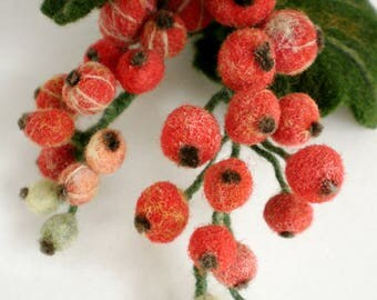 Brooch Red currant from wool Handmade