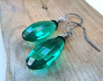 Emerald Lucite Teardrop Earrings Holiday Jewelry Oxidized Sterling Silver Bridesmaid Gifts Under 40 Modern Art Deco May Wire Wrapped
