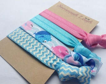 Blue and pink chevron and blowfish prints knotted hair ties