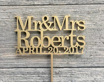 "Personalized Mr & Mrs Name and Date Cake Topper, 5"" inches wide, Wedding Cake Topper, Personalized Cake Topper, Custom Cake Topper, Wood"