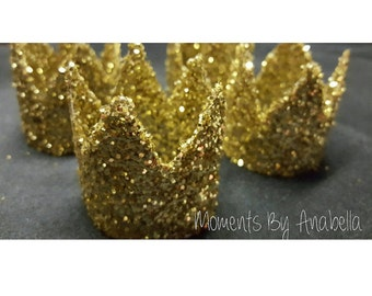 Set of 4 -Gold Glitter Crowns place card holders, napkin rings, favors, table setting decoration and so much more!