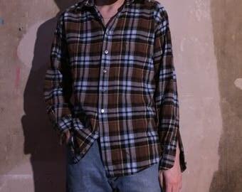 FLANNEL vtg 90s shirt size M light blue brown