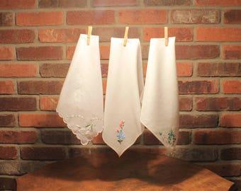 Handkerchief, Handkerchief cotton, Womens Handkerchief, White Handkerchief, Vintage Handkerchief, Embroidered Hankerchief, Craft Supply