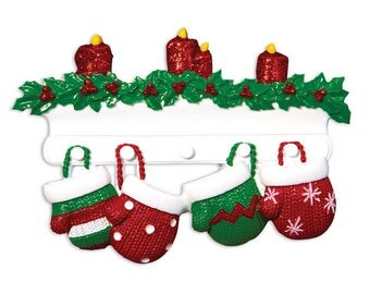 FREE SHIPPING Red & Green 4 Family Mittens Ornament / Personalized Christmas Ornament / Family of Four Mittens on Mantel