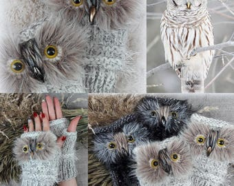 White Gloves Owl Fingerless Gloves Hand Knit Mittens Gray Wrist Warmers Owl Fingerless Gloves Animal Gloves Mittens Gifts for Her