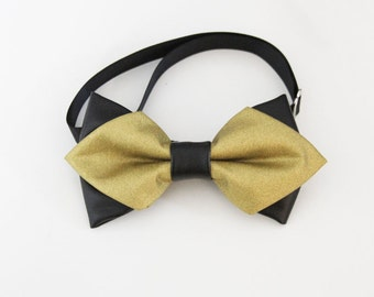 Gold and Black faux leather Bow-tie for boy and adult