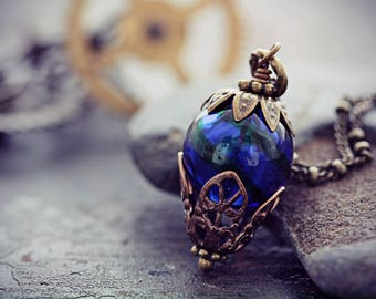 Hot Air Balloon Necklace Cobalt Blue Glass Bead Balloon Pendant Around the World in 80 Days Neo Victorian Airship Steampunk Jewelry