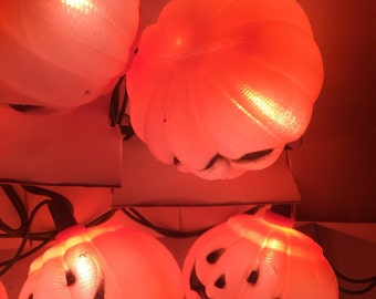 Pumpkin String Lights. Halloween Lights.  10 Pumpkin Blow Mold Light Covers.  VINTAGE. Ornamental Decoration. Vintage Halloween