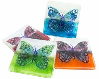 Butterfly Coaster - Fused Glass Handmade Gift