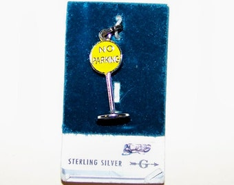 Vintage NO PARKING SIGN  Sterling Silver  and Enamel Charm --Griffith--On Original Store Card