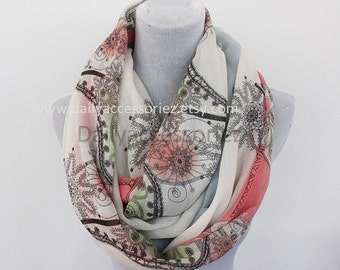 White Floral Infinity Scarf, Daisy Print Scarf,Infinity Scarf, Christmas Gifts, For Her, For Girls, For Mom, Womens Scarves, Fashion Scarves